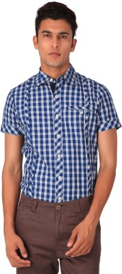 Blacksoul Men's Checkered Casual Purple Shirt