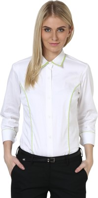 Dazzio Womens Solid Formal White, Green Shirt