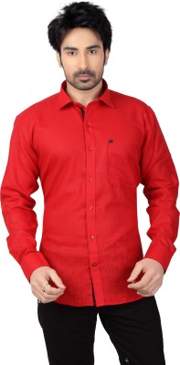 Ishin Designer Studio Men's Solid Casual Red Shirt