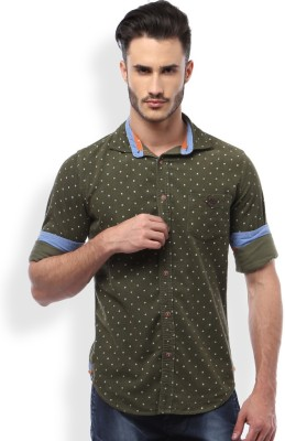 Mike and Smith Men's Printed Casual Green Shirt