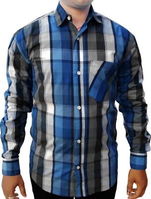 Purnima Men's Checkered Casual White, Blue Shirt