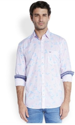 Park Avenue Men,s Printed Casual Blue Shirt