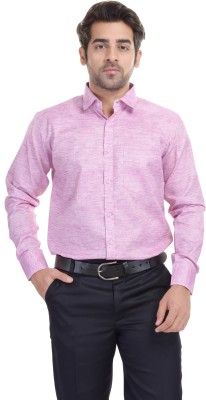 Blue Bird Men's Self Design Formal Pink Shirt