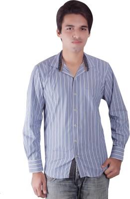 Elle Et Lui Men's Striped Formal Blue, White Shirt