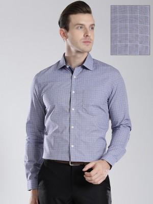 Invictus Men's Checkered Formal Blue Shirt