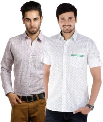 S9 Men's Printed Formal White, Maroon, White, Green Shirt