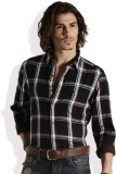 Roadster Men's Checkered Casual Black, B...