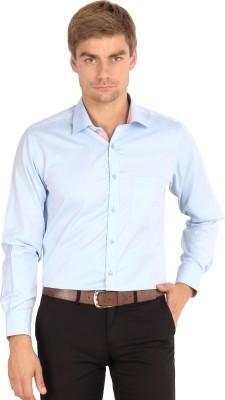 I-Voc Men's Harringbone Formal Light Blue Shirt
