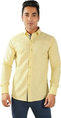 Just Differ Men's Polka Print Formal Yellow Shirt