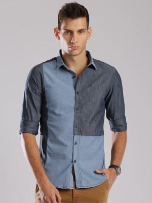 HRX by Hrithik Roshan Men's Self Design Casual Blue Shirt