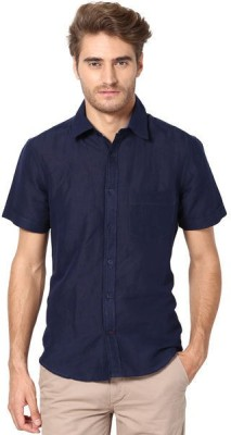 The Vanca Men's Solid Casual Linen Blue Shirt