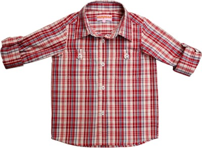 Campana Baby Boy's Checkered Casual Red, Beige Shirt
