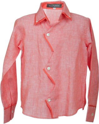 Lil Poppets Boy's Solid Casual Linen Orange Shirt