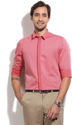 Arrow New York Men's Self Design Formal Pink Shirt