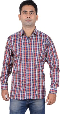 Aces Blue Men's Checkered Casual Red Shirt