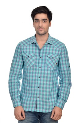 Parv Collections Men's Checkered Casual Green Shirt
