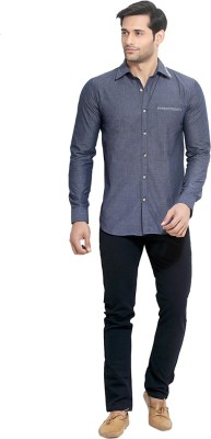 London Bee Men's Solid Casual Dark Blue Shirt