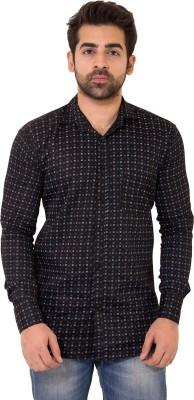 LIME TIME Men's Printed Casual Black Shirt