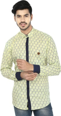 Perky Look Men's Printed Casual Yellow, Blue Shirt