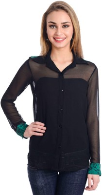 Trend Arrest Women's Solid, Printed Casual Black, Green Shirt at flipkart