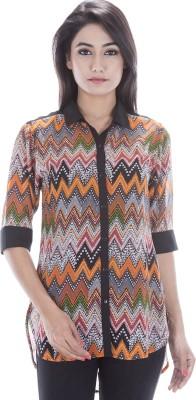 Peppermint Blues Women's Chevron Casual Multicolor Shirt