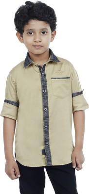 OKS Boys Boy's Solid Casual Beige Shirt