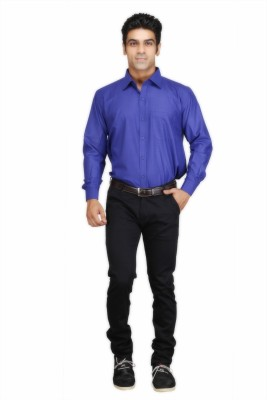 TwoPeople India Men's Solid Formal Dark Blue Shirt