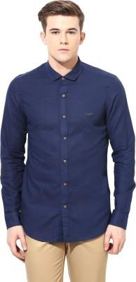 Velloche Men's Solid Casual, Festive Linen Blue Shirt