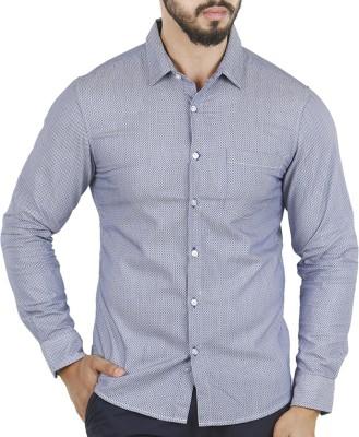 Aady Jones Men,s Printed Formal Blue Shirt