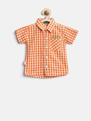 Baby League Baby Boy's Checkered Casual Orange Shirt
