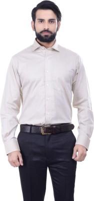 Alpha Centauri Men's Solid Casual Beige Shirt
