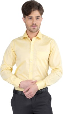 J Hampstead Men's Solid Formal Yellow Shirt