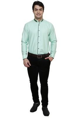 Clubstone Men's Solid Formal Green Shirt
