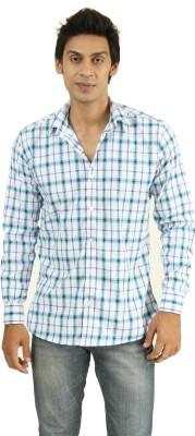 Frissk Men's Checkered Casual Blue, Blue, White Shirt