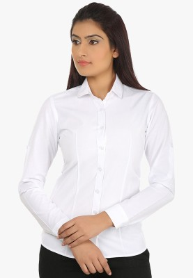 Fashion Cult Women's Solid Casual White Shirt