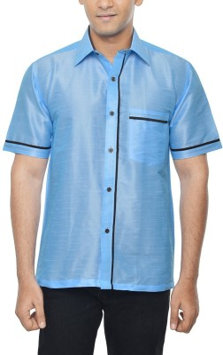 KENRICH Men's Solid Casual Light Blue Shirt