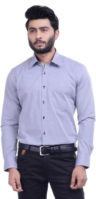 Hoffmen Men's Self Design Formal Light Blue Shirt