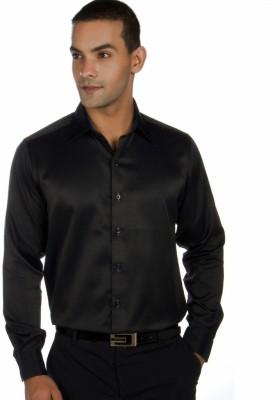 Provogue Men's Solid Formal Black Shirt