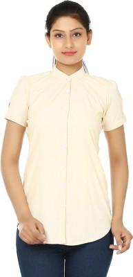 UrSense Women's Striped Casual Yellow Shirt