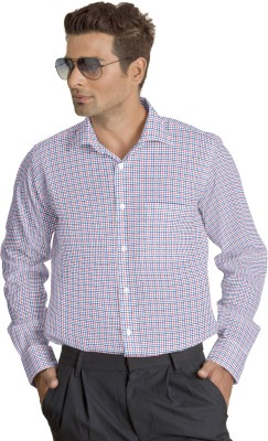 Willmohr Men's Checkered Formal Pink Shirt