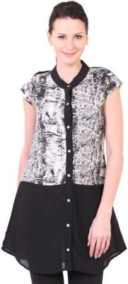 LeShe Women's Printed Casual Black Shirt