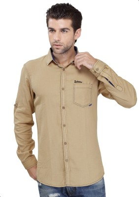 SEVEN STITCHES Men's Solid Casual Beige Shirt