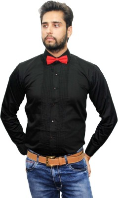 Beetle Men's Solid Formal Reversible Black Shirt