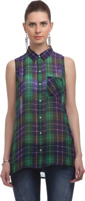 Madame Women's Checkered Casual Green Shirt