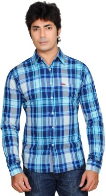 Ubho Core Men's Checkered Casual Blue Shirt