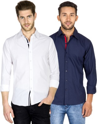 Tuscans Men's Solid Casual White, Dark Blue Shirt