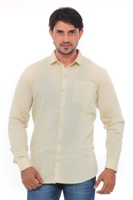 Mabho Men's Solid Casual Beige Shirt