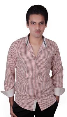 Elle Et Lui Men's Checkered Formal White, Red Shirt