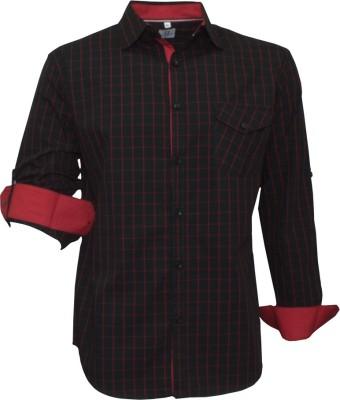 Darium Men's Checkered Casual Black, Red Shirt