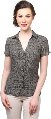 Moderno Women's Printed Casual Black, Beige Shirt